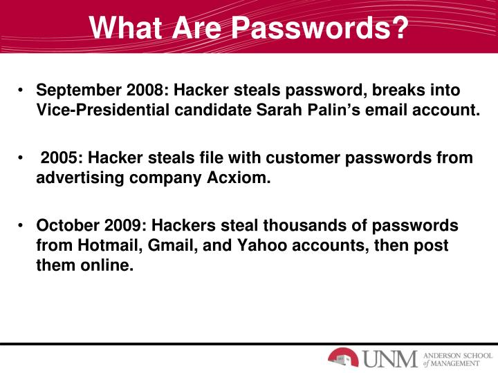 What are passwords