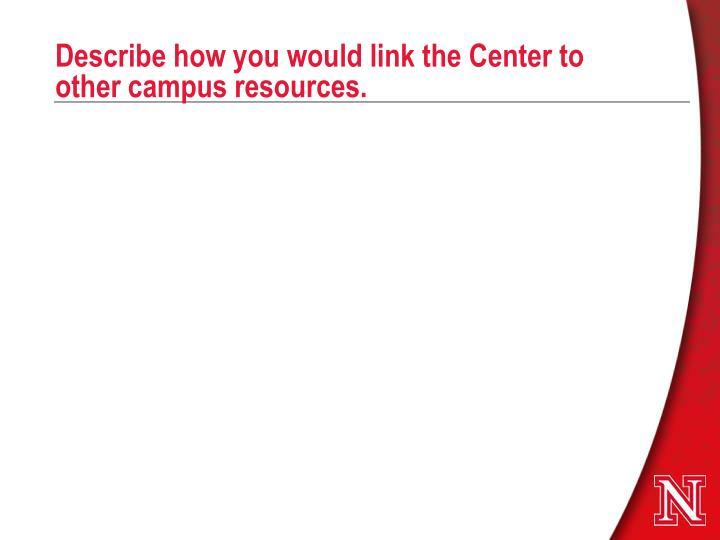 Describe how you would link the Center to  other campus resources.