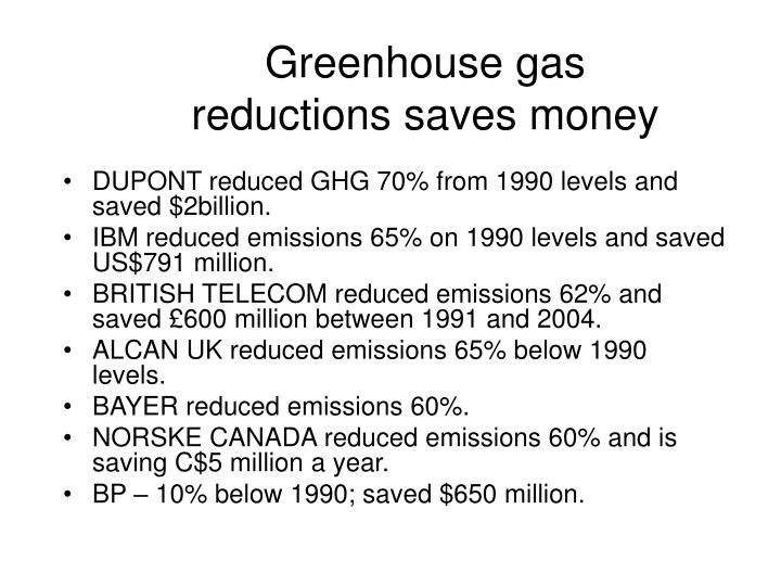 Greenhouse gas reductions saves money