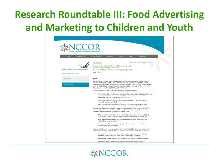 Research Roundtable III: Food Advertising and Marketing to Children and Youth