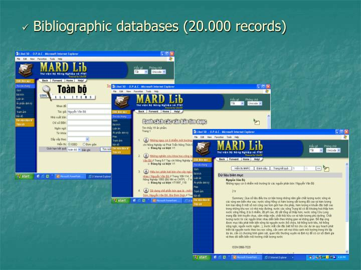 Bibliographic databases (20.000 records)
