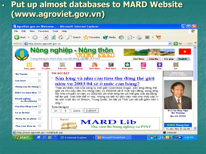 Put up almost databases to MARD Website (www.agroviet.gov.vn)