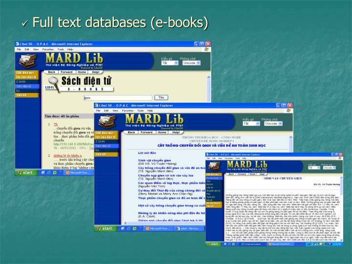 Full text databases (e-books)
