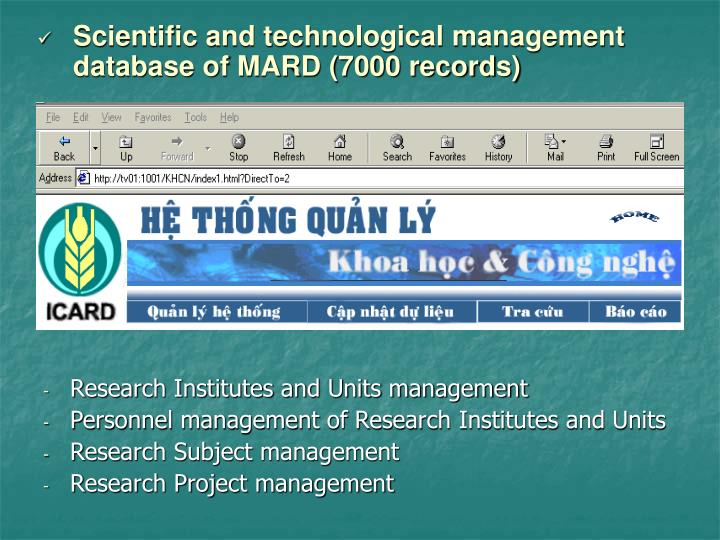 Scientific and technological management database of MARD (7000 records)