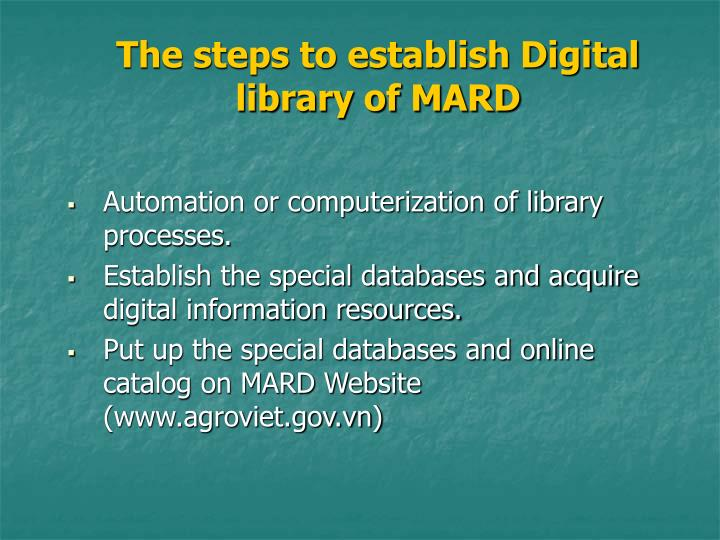 The steps to establish Digital library of MARD