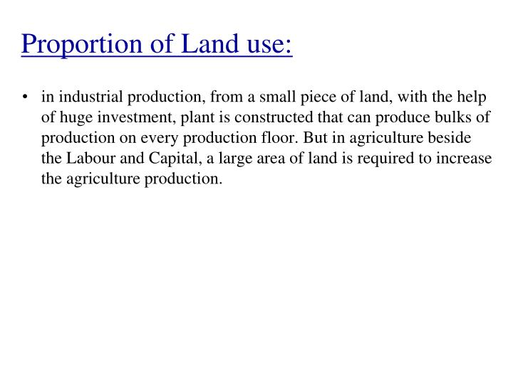 Proportion of Land use:
