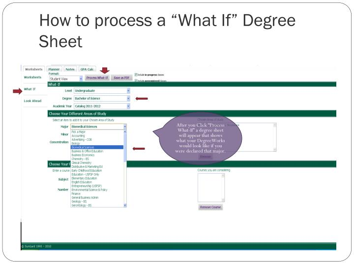 "How to process a ""What If"" Degree Sheet"
