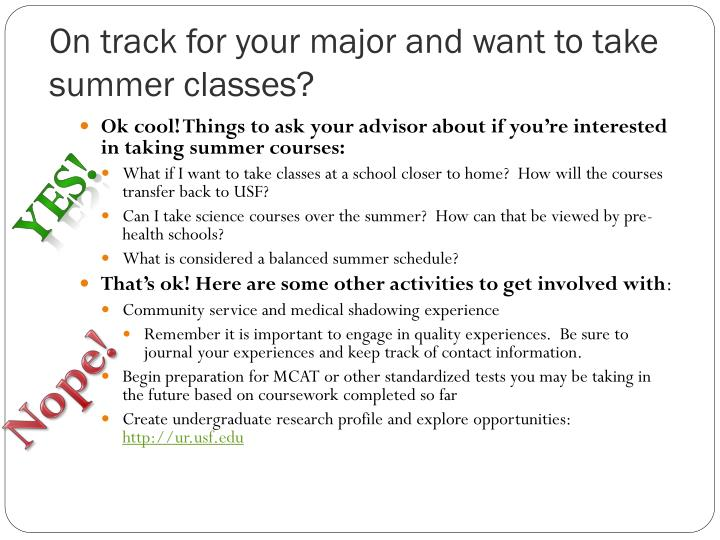 On track for your major and want to take summer classes?