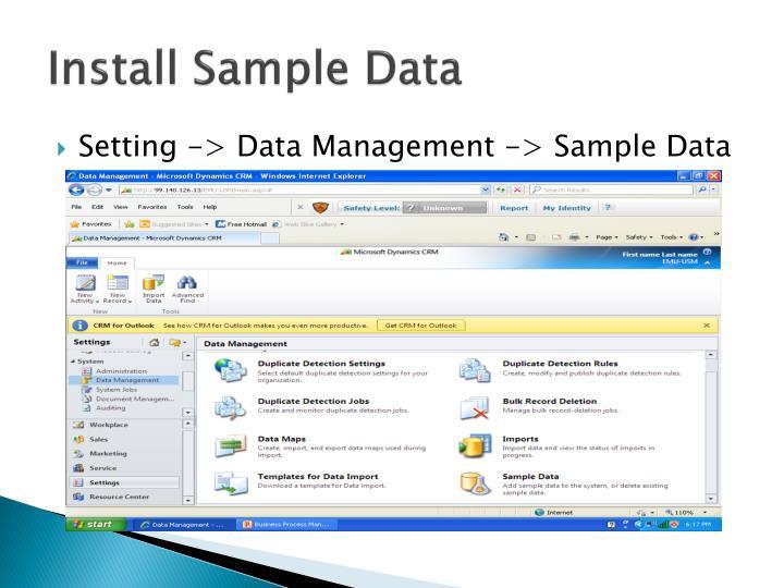 Install Sample Data