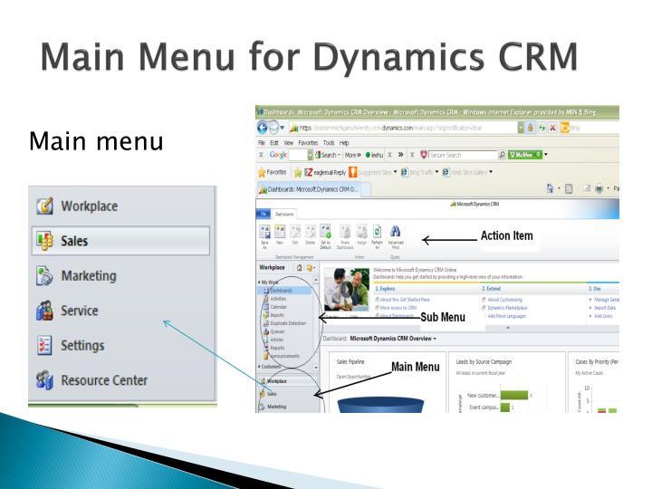 Main Menu for Dynamics CRM