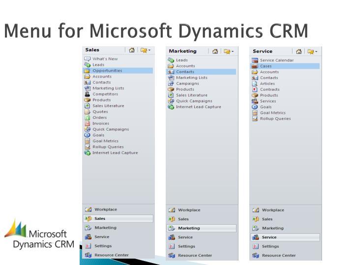 Menu for Microsoft Dynamics CRM