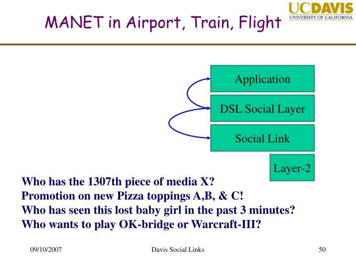 MANET in Airport, Train, Flight