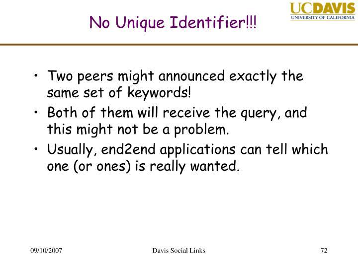No Unique Identifier!!!