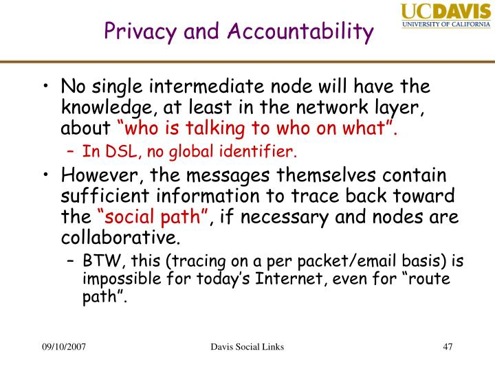 Privacy and Accountability