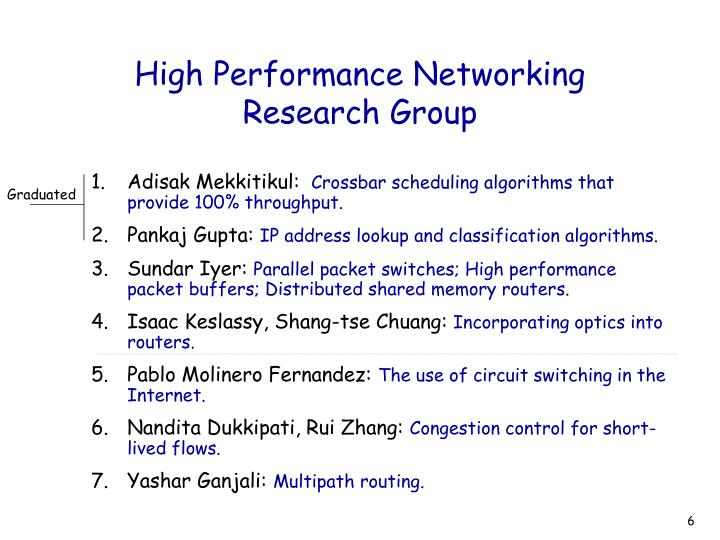 High Performance Networking Research Group