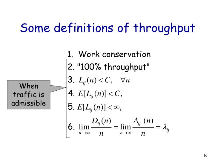 Some definitions of throughput