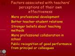 factors associated with teachers perceptions of their own effectiveness4