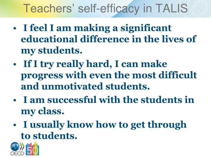 Teachers' self-efficacy in TALIS