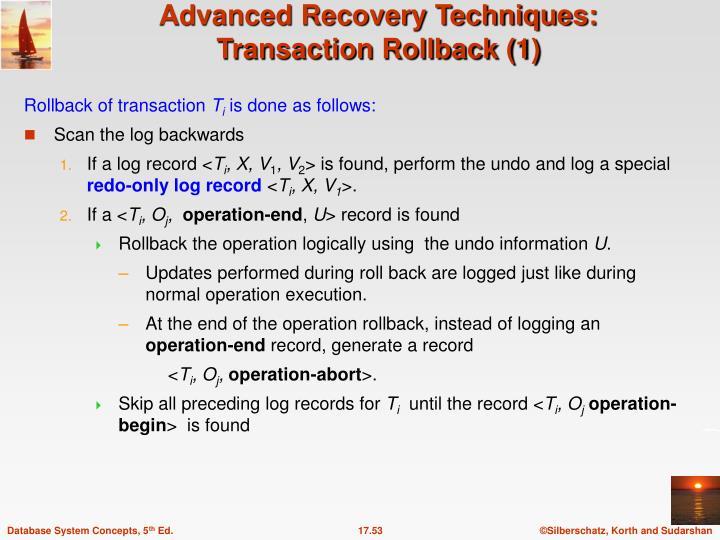 Rollback of transaction