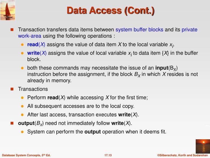 Transaction transfers data items between