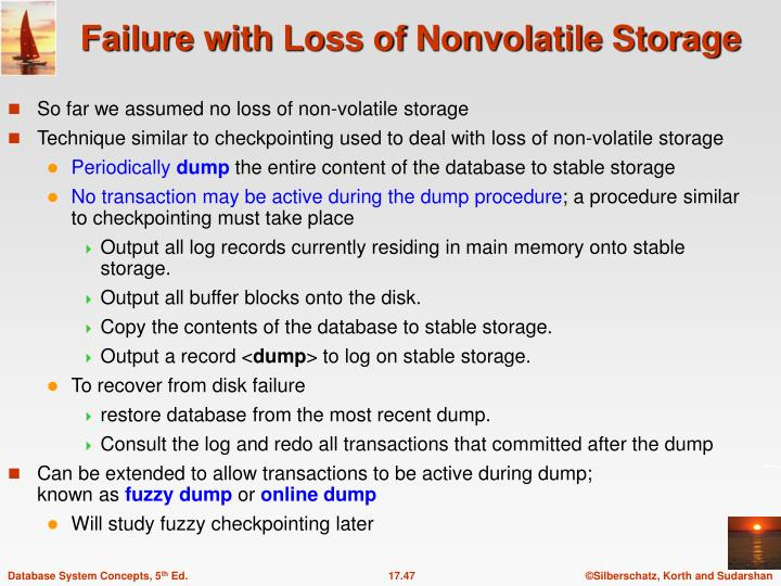 So far we assumed no loss of non-volatile storage