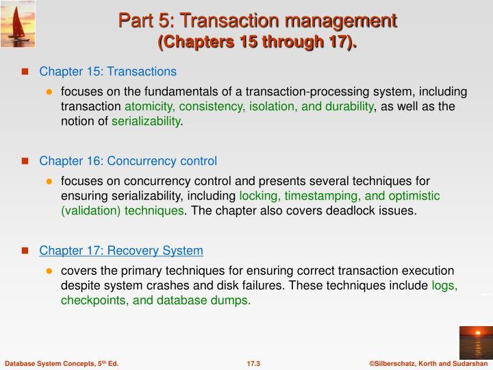 Part 5: Transaction management