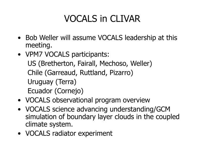 VOCALS in CLIVAR
