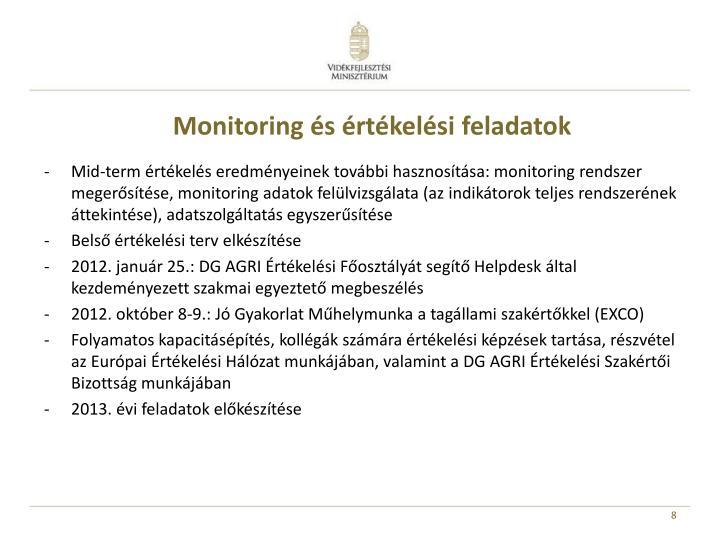 Monitoring és értékelési feladatok