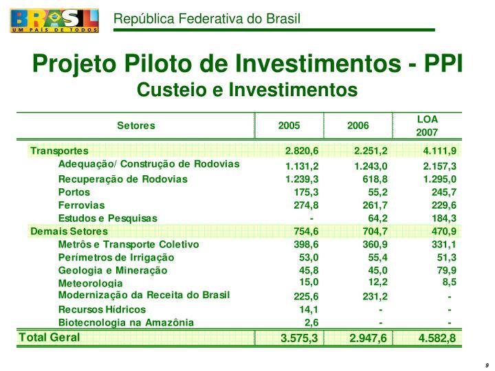 Projeto Piloto de Investimentos - PPI