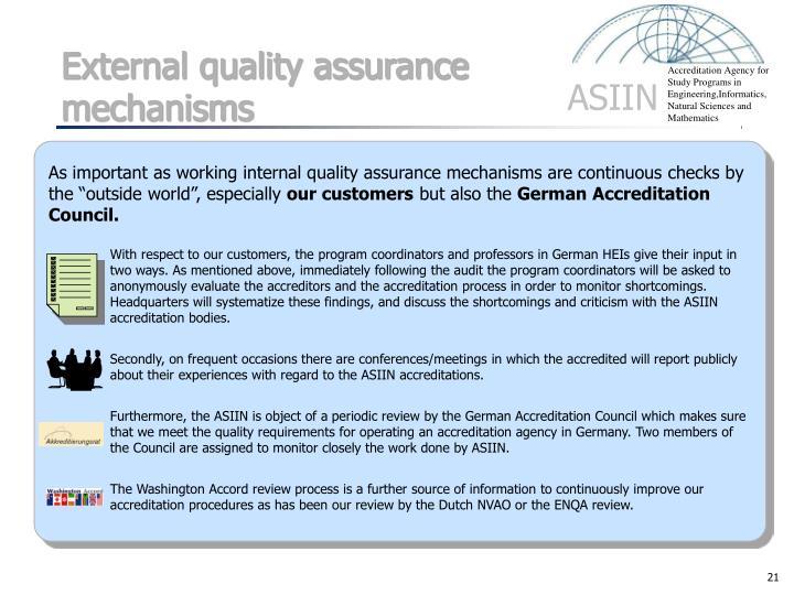 External quality assurance mechanisms
