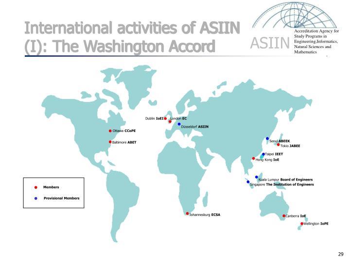 International activities of ASIIN (I): The Washington Accord