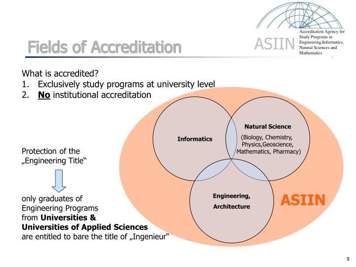Fields of Accreditation