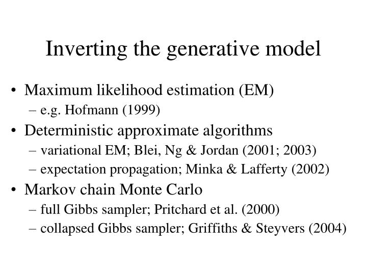 Inverting the generative model