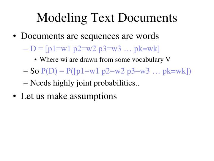Modeling text documents