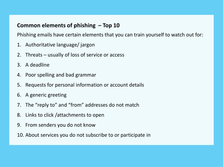 Common elements of phishing  – Top 10