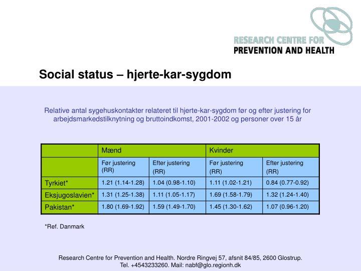 Social status – hjerte-kar-sygdom