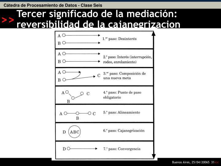 Tercer significado de la mediación: reversibilidad de la cajanegrizacion