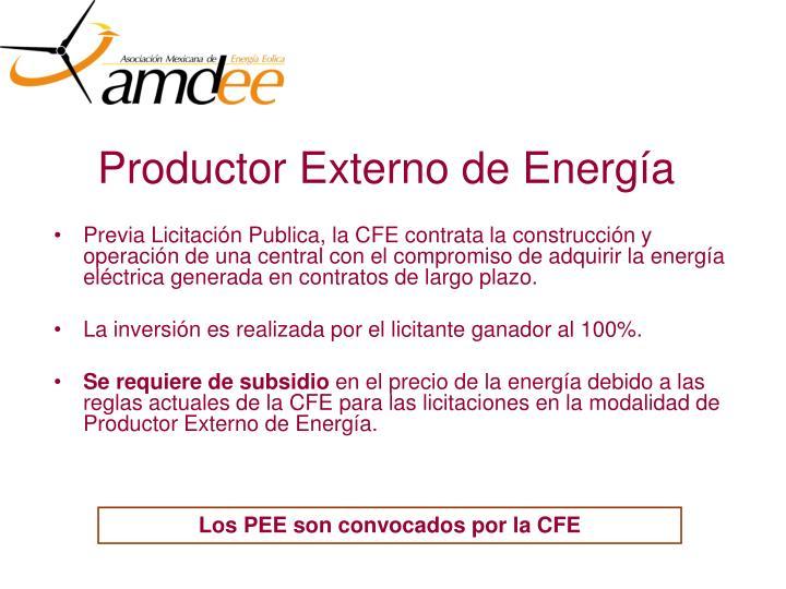 Productor Externo de Energía