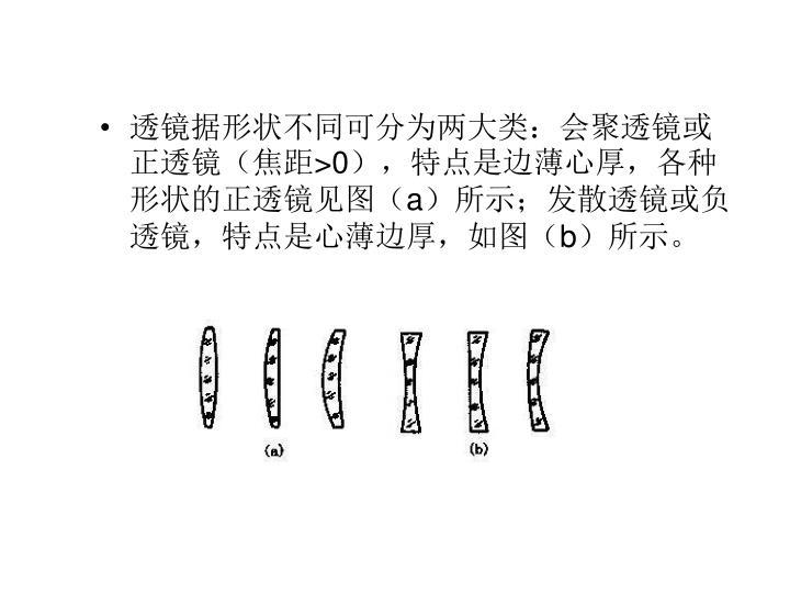 透镜据形状不同可分为两大类:会聚透镜或正透镜(焦距