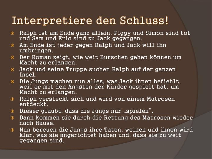 Interpretiere den Schluss!