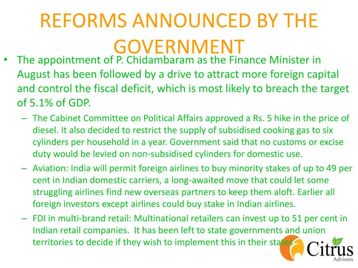 REFORMS ANNOUNCED BY THE GOVERNMENT