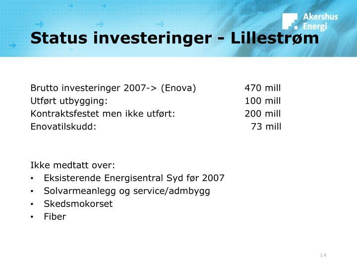Status investeringer - Lillestrøm