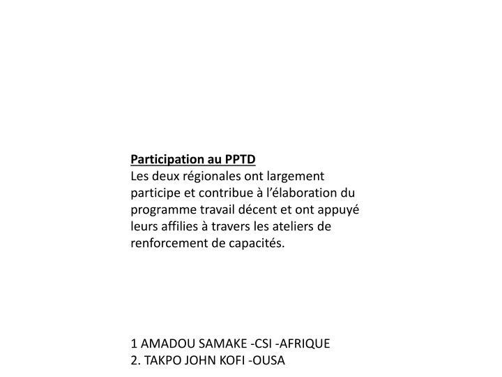 Participation au PPTD