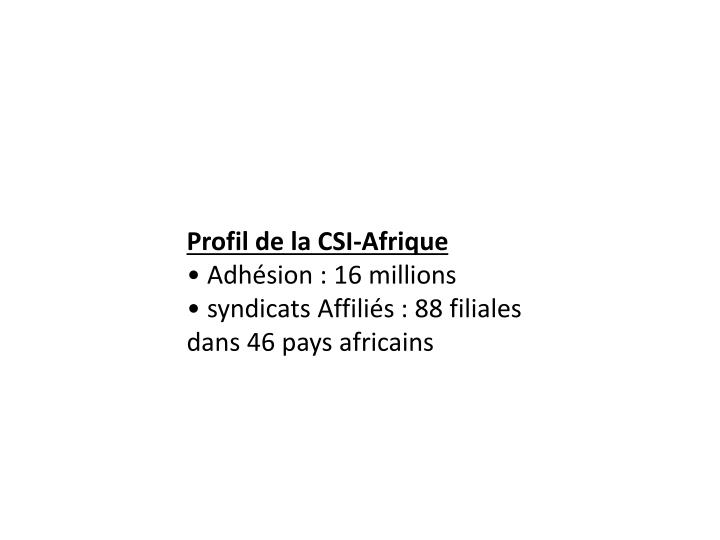 Profil de la CSI-Afrique