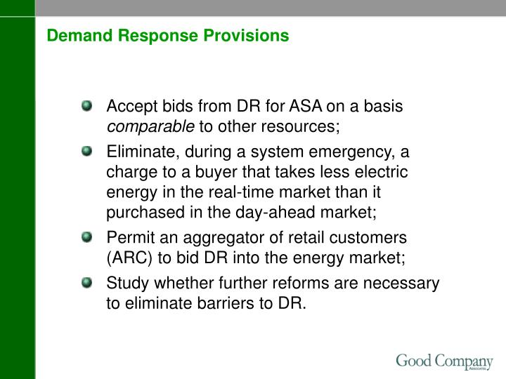 Demand Response Provisions