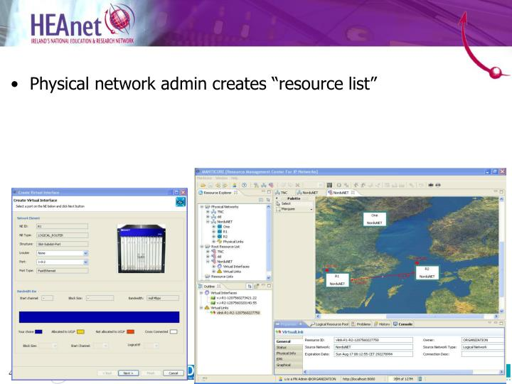 """Physical network admin creates """"resource list"""""""