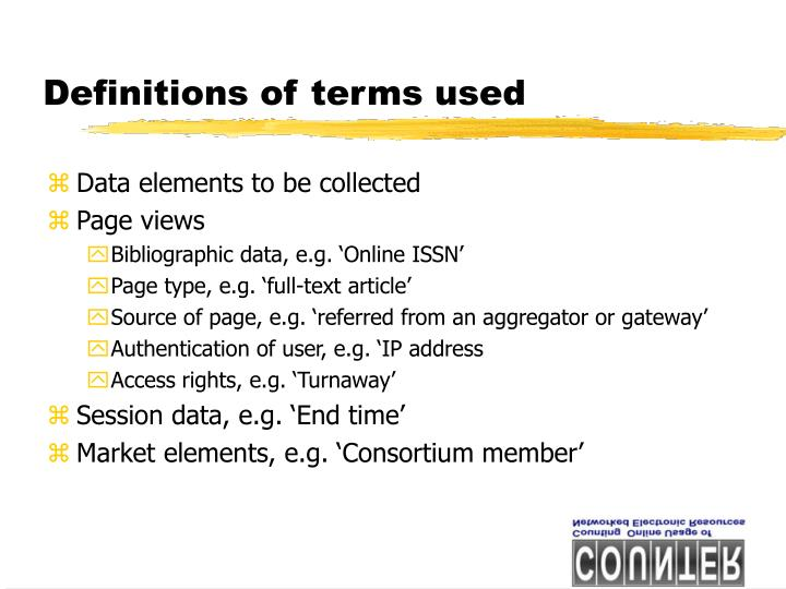 Definitions of terms used
