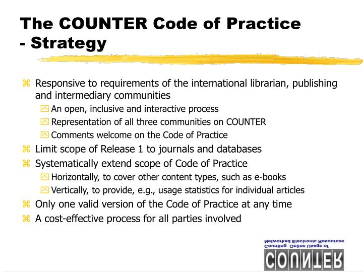 The COUNTER Code of Practice