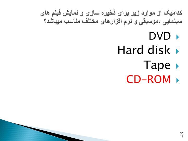 کدامیک از موارد زیر برای ذخیره سازی و نمایش فیلم های سینمایی ،موسیقی و نرم افزارهای مختلف مناسب میباشد؟
