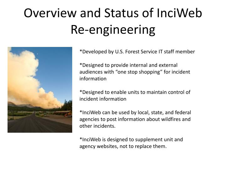 Overview and Status of InciWeb Re-engineering